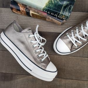 CONVERSE CTAS Leather Platform Metallic Sneaker